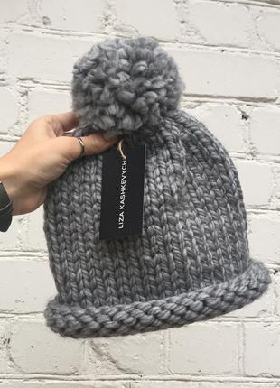 Шапка wool twist шерстяная с помпоном скрученый отворот