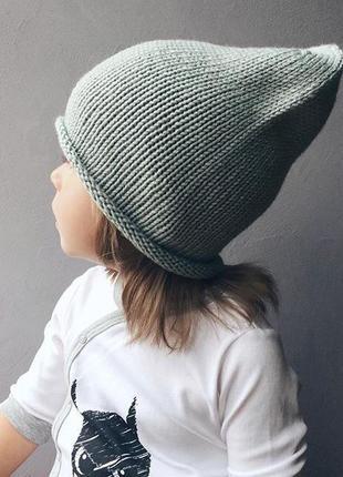 Шапка бини детская вязаная унисекс