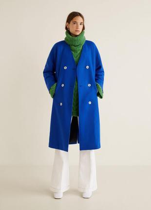 Розкішне шерстяне пальто mango, двубортное шерстяное пальто