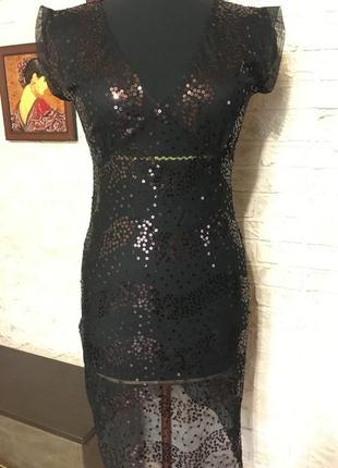 Платье сетка с коричневыми пайетками