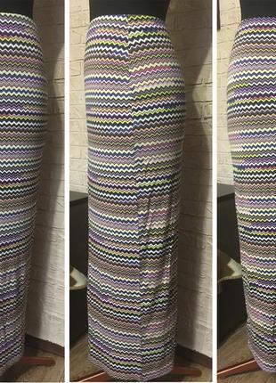 Натуральная разноцветная юбка в пол