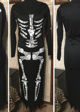 Платье скелет, актуально на хэллоуин