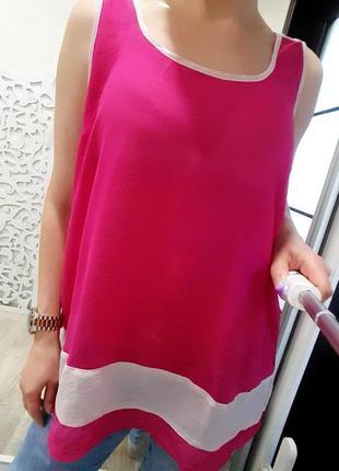 Майка l-xl футболка шифоновая яркая розовая воздушная пляжная ...