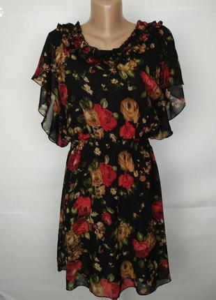 Платье новое шифон рюши розы uk 14/42/l