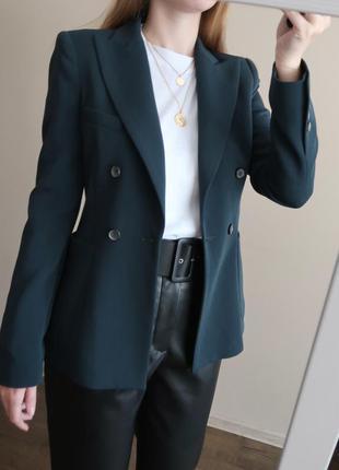 Шерстяной блейзер zara 44% шерсть / удлиненный пиджак / жакет