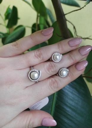 Комплект серебро 925 кольцо, серьги, подвес жемчуг лк0141