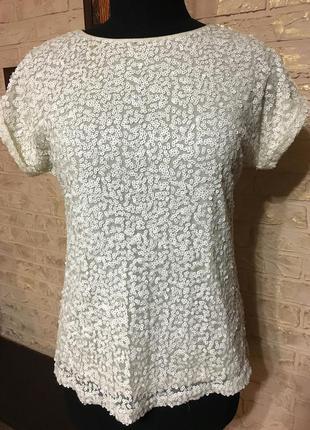 Блузка в белые пайетки на подкладке
