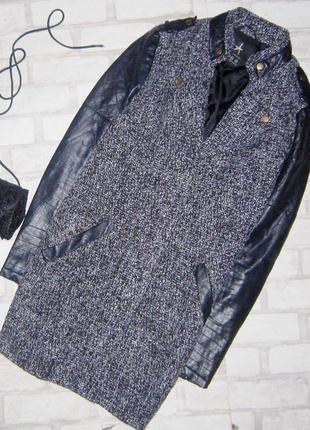 Шикарное пальто бойфренд , косуха , с эко кожаными рукавами