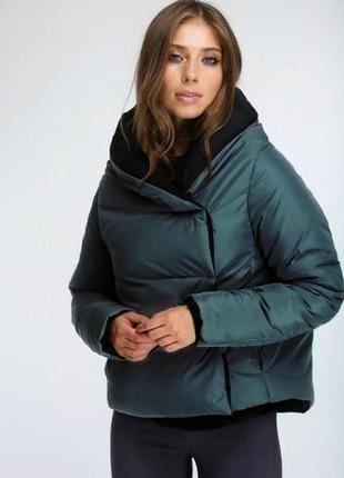 Куртка изумруд евро зима осень короткая marani эксклюзив одеял...