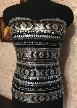 Топ в пайетках ацтекский узор, с чашечками
