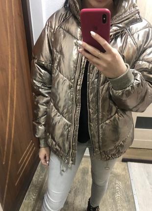 Золотистая куртка h&m