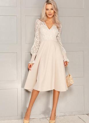 Кружевное бежевое платье-миди