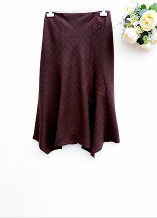Стильная юбка с вышивкой красивая шерстяная юбка миди