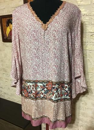 Натуральная блуза с пайетками