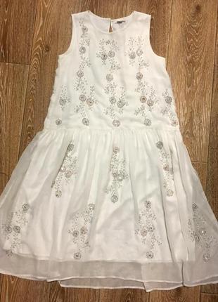 Белое платье двойное шифоновое с бисером