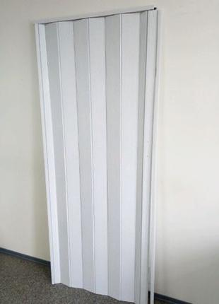 Дверь гармошка белый ясень 810х2030х6мм стандарт не экономка