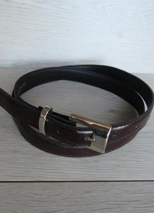 Узкий ремень пояс синий/коричневый/черный