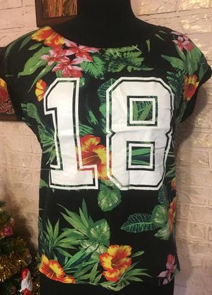 Натуральная футболка в цветочки 18