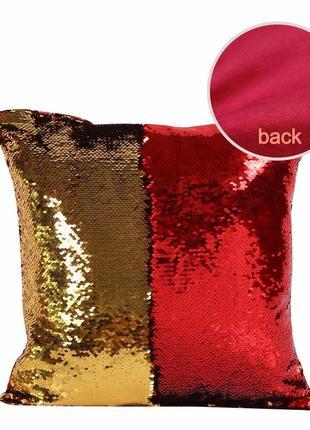 Декоративная наволочка красно-золотая с двусторонними пайеткам...