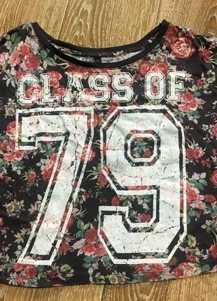 Натуральная футболка в цветочки 79