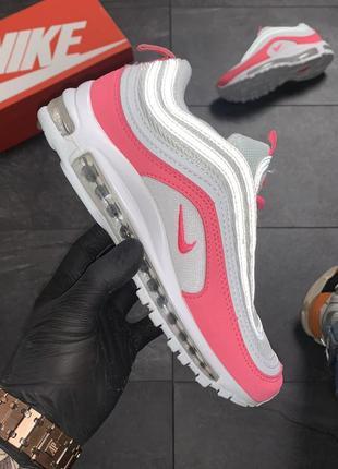 🌼🌺nike air max 97 white red🌺🌼женские кроссовки найк, светлые в...