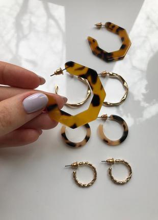 Набор сережек кольца h&m 4 пары #розвантажуюсь