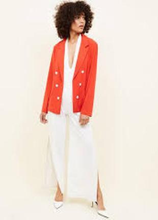 Яркий морковный легкий двубортный пиджак жакет блейзер №10