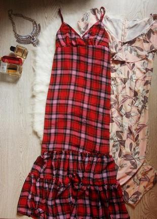 Красный в клетку сарафан длинное платье в пол на бретелях с во...