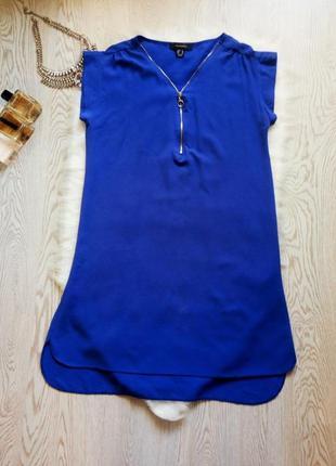 Синее свободное прямое платье электрик с молнией на вырезе дек...