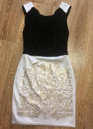 Платье с золотым принтом