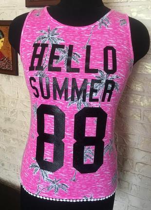 Натуральная розовая майка hello summer 88