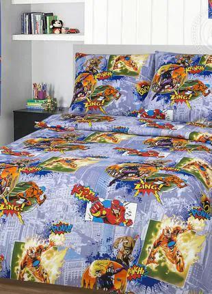 Детское постельное белье подростковое Супергерои 100% хлопок
