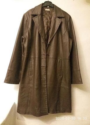 Батал базовое пальто тренч плащ натуральная кожа