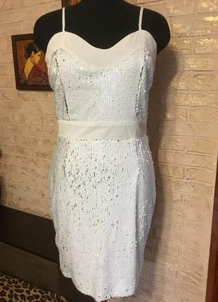Платье двусторонние пайетки бело-серебристые