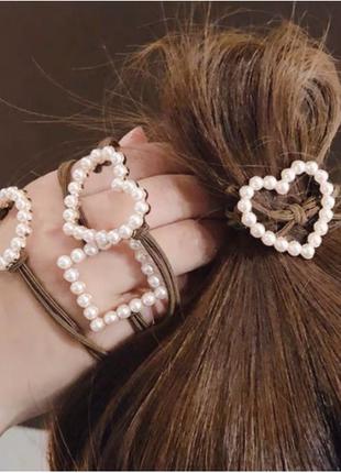 """Резинка для волос с жемчугом """"pearl sign"""", 6 видов"""