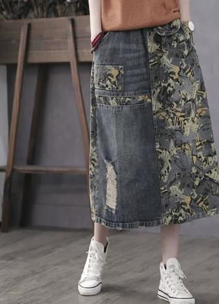Джинсовая оригинальная юбка миди