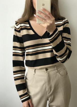 Джемпер свитер полоска чёрный бежевый коричневый прямой объемн...