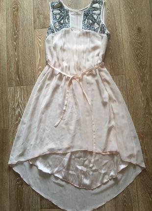 Двойное шифоновое платье с пайетками
