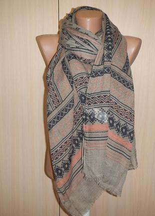 Легкий шарф палантин  с шерстью  77см х 185см pieces