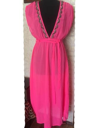 Шифоновая накидка-платье, неоново розовая