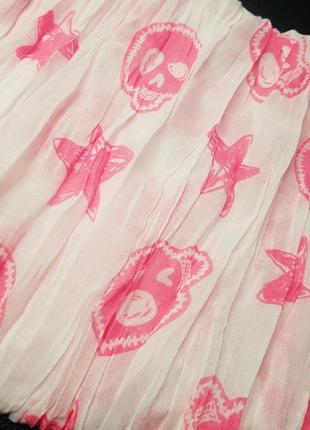 Лёгкий жатый шарфик платок с рисунком черепа и морские звезды