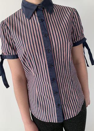 Рубашка в полоску червона з синім, зручна рубашка, сорочка.