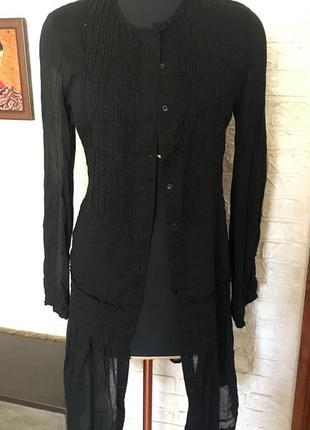 Натуральное черное платье с бисером