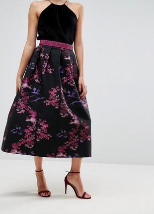 Пышная юбка миди из гобелена asos 14-18 размер