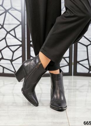 ❤ женские черные весенние демисезонные кожаные ботинки казаки ...