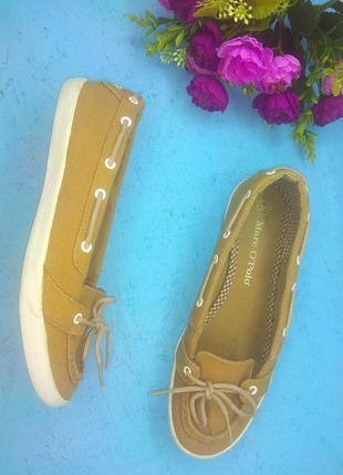 Лёгенькие туфли мокасины marc o'polo цвет кэмел р 37-37,5