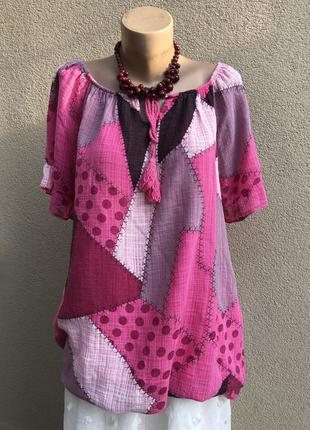 Блуза реглан,рубаха,туника,открытые плечи,лён-хлопок,этно бохо...