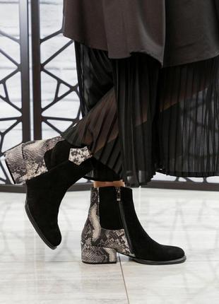 ❤ женские черные замшевые весенние демисезонные ботинки ботиль...