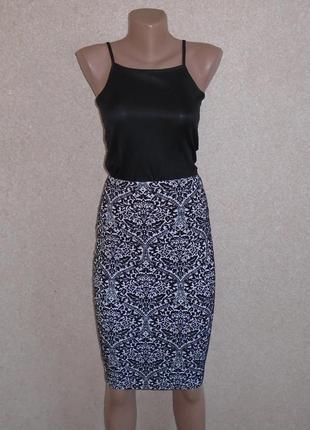 Черно белая юбка карандаш\юбка миди\спідниця олівець міді