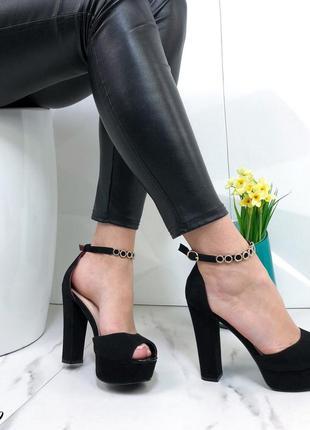 ❤ женские черные босоножки на высоком каблуке  ❤